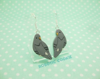Pigeon Bird earrings Rock Dove polymer clay Sterling Silver