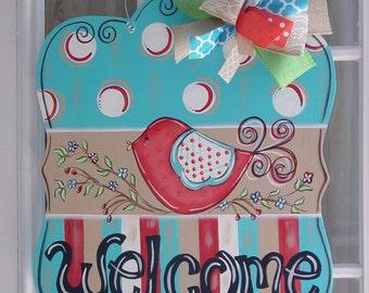 Welcome Spring Summer Bird Wood Door Hanger Sign