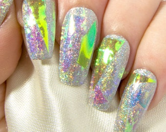 Shattered Glass Nails - Holographic Coffin Nails - Glue On Nails with Nail Art - Fake Nail Set with Designs - Opalescent Artificial Nails