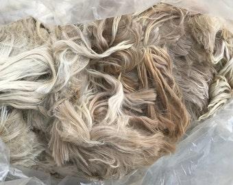 raw suri alpaca fiber - natural light/medium fawn blend