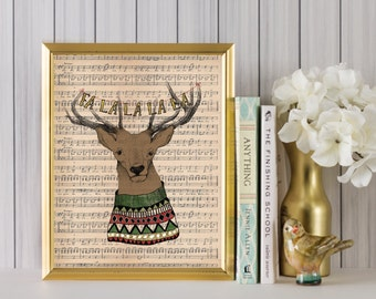 Christmas Print  - Fa la la la la - Christmas Deer - Christmas Decorations - Deer Antler - Holiday Decor - Christmas Art - Holiday Art