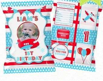"Airplane Treat Bag Printable, Candy Bag, Chip Bag, Party Bags Travel | Style 30 | Any Age | 4.5"" x 7""- YOU PRINT"