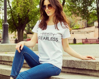 "Feminist T-Shirt: ""Feisty? I'm Fearless"" shirt (multiple colors) Vintage Feminist Tee by Fourth Wave Feminist Apparel (Great gift!)"