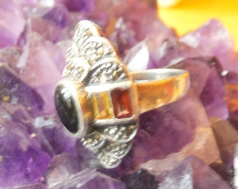 Onyx and Gemstone and Sterling Silver Ring.... size 6 only