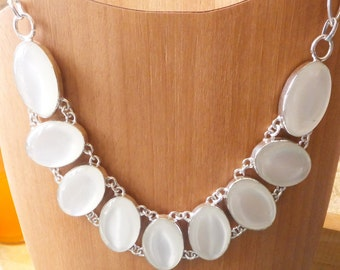 River Pearl Gemstone and Sterling Silver Bib Necklace