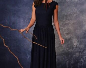 Maxi dress, evening dress, evening gown, long dress, black dress, dark blue dress, lace dress