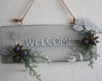 """Welcome door hanger with bird , welcome sign , metal door hanger, , cottage chic , wall decoration, housewarming 29 x 12 cm , 11.4 x 4.7"""""""
