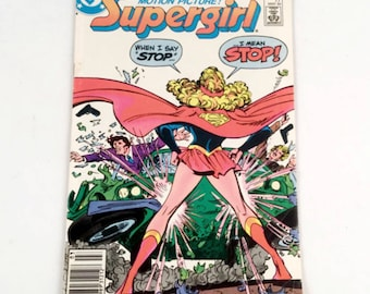 Supergirl Comic Book 1984 80s DC Comic - Bright Colors, Minor Wear, Great Cover, Tough Girl Blonde Superhero, Bad Guys - Vintage Collectible