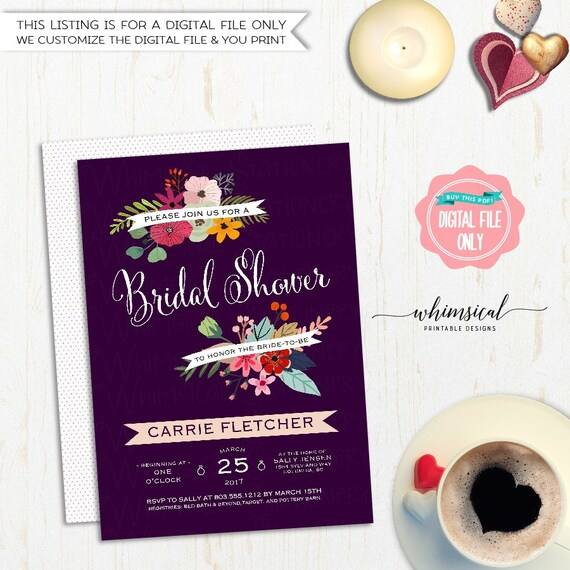 Purple Flower Bridal Shower Invitation : Bridal shower invitation purple flowers