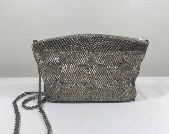 Silver Beaded Purse, Formal purse, Bag, Shoulder Bag,