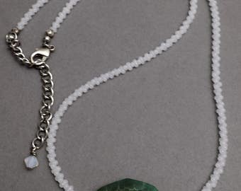 green focal bead necklace | white and green necklace | octagon focal