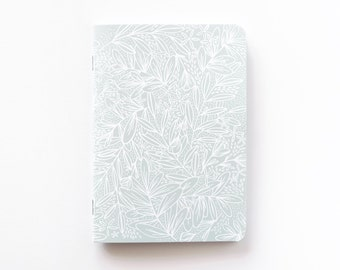 Medium Illustrated Journal | Hand Illustrated Floral Journal, Lined Notebook Stationery : Saturday in Light Mint