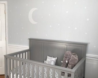Moon and Stars Decal - Nursery Wall Decal - Moon And Stars Decal - Baby Nursery Vinyl Decal - Childrens Bedroom Decal - Moon and Stars Room