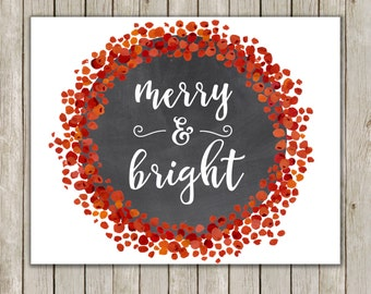 8x10 Christmas Printable Decor, Merry and Bright, Typography Print, Red Berries Holiday Decor, Wreath Holiday Wall Art, Instant Download