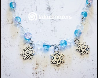 Frozen Inspired Beaded Snowflake Necklace
