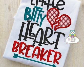 Little Bitty Heart Breaker Shirt or Bodysuit, Valentine Shirt, Valentines Day Shirt, Valentines Day Outfit, Boy Valentine, Heart Shirt