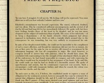 Pride and Prejudice, Jane Austen, Jane Austen Art Print, Book Page Art Print, Mr. Darcy Proposes, Chapter 34, Classic Book Page Art Print,