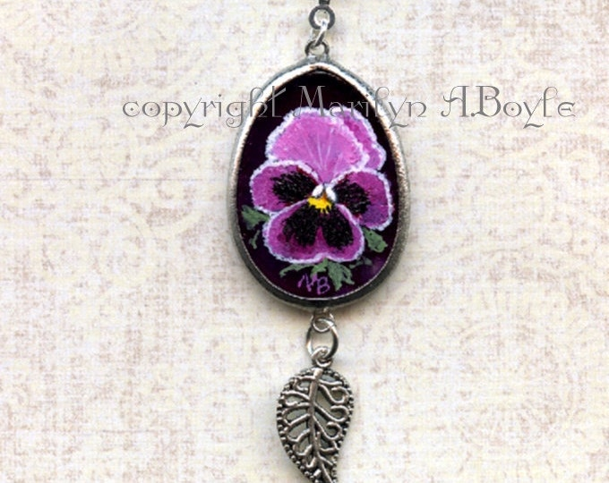 HAND PAINTED AGATE Pendant; purple agate, jewelry, silver leaf, pansy, flower, garden, nature, wearable art, one of a kind, 14 inch choker