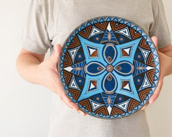 Polar Star decorative plate - Hanging plate - Mandala - Plate on wall - Blue plate - Star decor