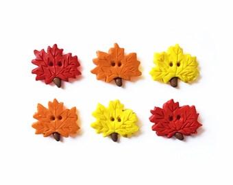 Leaf Buttons - Autumn Button - Decorative Button - Halloween Button - Polymer Clay Button - Thanksgiving Button - Sewing Buttons - Cute