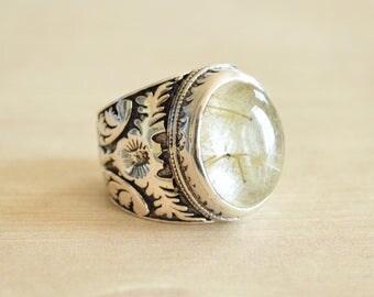 Flowered Rutilated Quartz Ring // Rutilated Quartz Jewelry // Sterling Silver // Village Silversmith