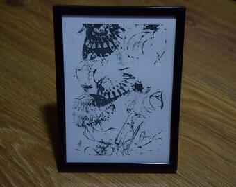 Jellyfish Entaglement, small framed print, digital print in vinyl black frame, standing or wall mounted