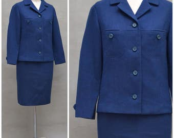Vintage ladies suit, 1960s blue two piece, jacket / skirt ensemble, Formal / smart Jackie O style suit, wiggle silhouette, mod