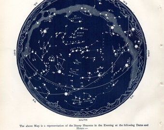1887 Antique Astronomy Print Constellations Star Map April May Celestial Science Space Vintage Astronomy Print
