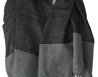 Black Scarf, Ladies Pashmina 100% Cotton, Gray Reversible Fair Trade Wrap, Grey Shawl Hand Woven
