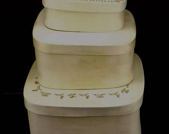 vintage wood box lot | 90s storage boxes | 3 lid wood boxes | wood nesting boxes | shaker style boxes | folk art boxes | craft supply boxes