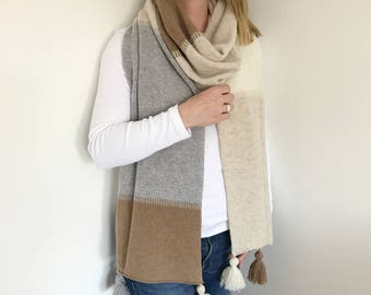 Colour block scarf, tassel scarf, lambswool scarf, knitted scarf, Lambswool knitted wrap, colour block scarf, colour block blanket scarf