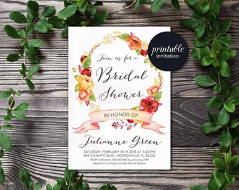 Fall Bridal Shower Invitation Printable, Floral Birthday Invitation, Floral Bridal Shower Invitation, Autumn Bridal Shower Invitation