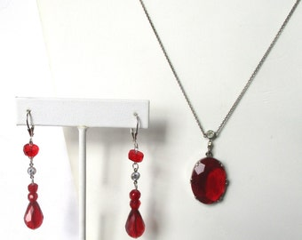 Continental Silver & Red Crystal Necklace With Earrings Set
