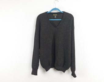 Speckled Black Virgin Wool Sweater