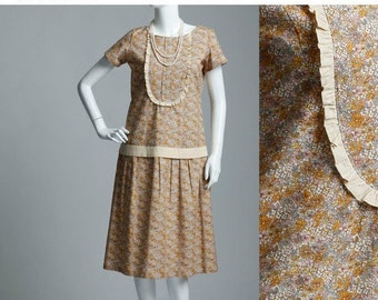 Yellow and brown floral flapper dress, 1920s cotton dress, cotton tea dress,  Downton Abbey dress, Roaring 20s clo...