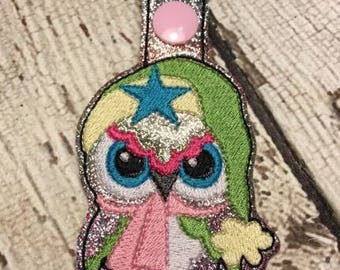 Hoot Owl with Scarf - Owl  - In The Hoop - Snap/Rivet Key Fob - DIGITAL Embroidery Design