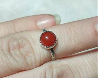 Natural Red Stone Ring | Sterling Silver Ring Sz 5.5 | Carnelian Stone | Carnelian Agate Ring | Carnelian Ring | Boho Ring | Gemstone Ring