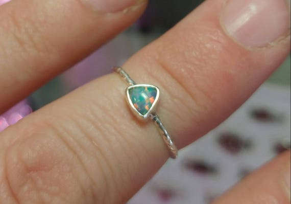 Opal Stacker Ring | Sterling Silver Ring Sz 6 | Solid Opal Ring | Opal Jewelry | Triangle Opal Ring | Welo Opal Ring | Precious Opal Ring