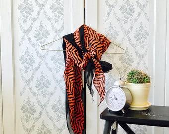Spring/Summer Orange and Black Pattern Scarf - Reversible