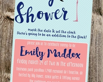 Baby Shower Invitation: Flamingo - addition to the flock