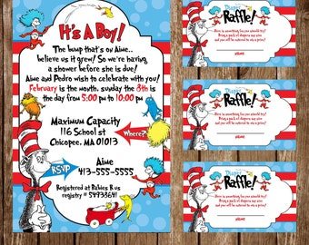 Cat in the hat baby shower invitation and diapper raffle tickets