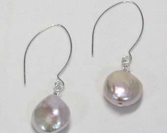 Earrings, Coin Pearl Drop Earrings, Light Pink, High Luster, Sterling Silver Ear Wires, Modern, Artisan Designed and Crafted | MAE  jewelry