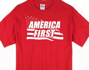 America First t-shirt. Charity begins at home. Patriotic USA tee. MAGA.