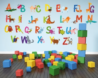 stickers muraux alphabet etsy. Black Bedroom Furniture Sets. Home Design Ideas
