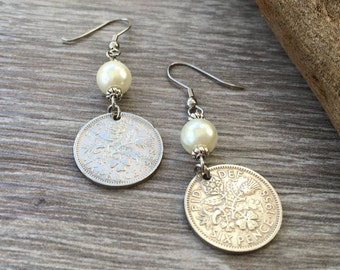 59th birthday gift for her, 1958 British sixpence earrings, pretty English coin Jewelry, retirement present woman, Boho coin earrings
