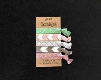 Spring Hair Ties, Teacher Gift Idea, Mothers Day Hair Tie Set, Mint and Pink Hair Ties, Friends Gift, white and grey