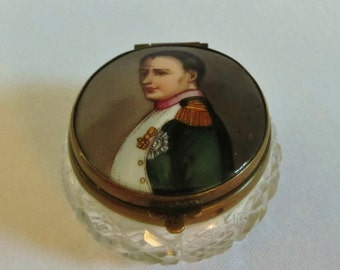 Antique Patch Box, Napoleon Portrait, Enamel Crystal Dresser Box with Porcelain Lid