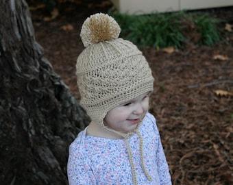 Baby Earflap Hat, Crochet Baby Hat, Infant Pom Pom Hat, Baby Winter Hat, Crochet Baby Beanie, Kid's Winter Beanie, Kid's Earflap Beanie