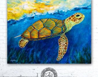 Turtle Print, Coastal Art, Sea Turtle Print,  Sea Turtle Art, Sea Creatures, Sea Turtle Decor, Kids Room, Marine Life, Nautical Gifts
