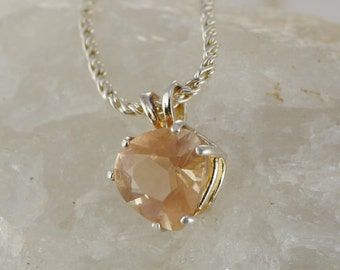 Pink Heart Shaped Oregon Sunstone with Schiller Pendant Necklace Sterling Silver with chain
